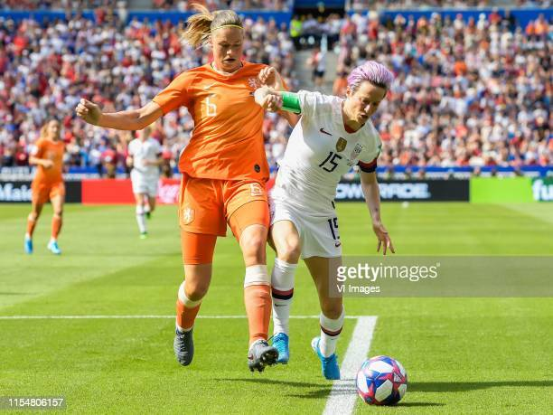 Anouk Dekker of Netherlands women Megan Rapinoe of USA women during the FIFA Women's World Cup France 2019 final match between United States of...