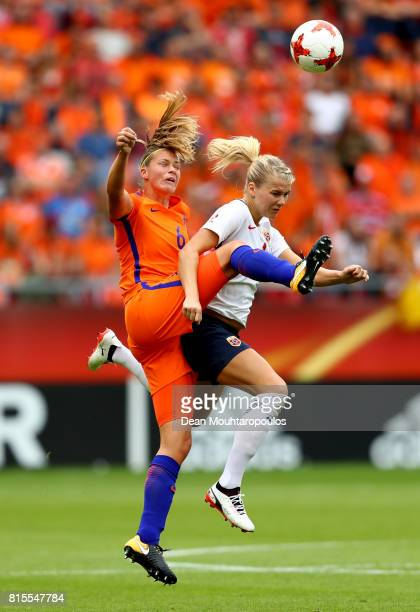 Anouk Dekker of the Netherlands and Ada Hegerberg of Norway compete in the air during the Group A match between Netherlands and Norway during the...