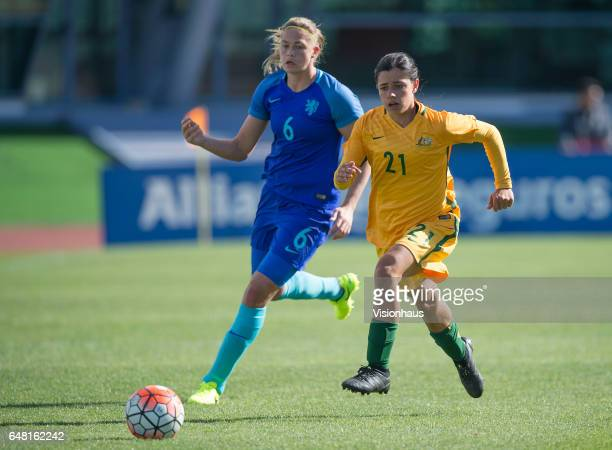 Anouk Dekker of The Netherlands and Alex Chidiac of Australia during the Group C 2017 Algarve Cup match between Australia Women and Netherlands Women...