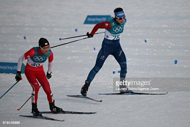 Anouk Faivre Picon of France competes Masako Ishida of Japan competes during the Biathlon Women's 75km Sprint at Alpensia Biathlon Centre on February...