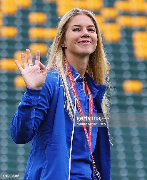 Anouk Hoogendijk of Netherlands waves to fans before the FIFA Women's World Cup Canada 2015 Group A Match against the China PR at Commonwealth...