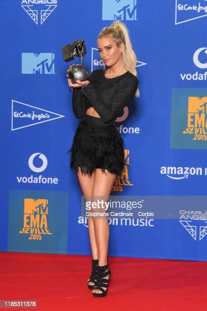 Anouk Matton in the winner room during the MTV EMAs 2019 at FIBES Conference and Exhibition Centre on November 03 2019 in Seville Spain