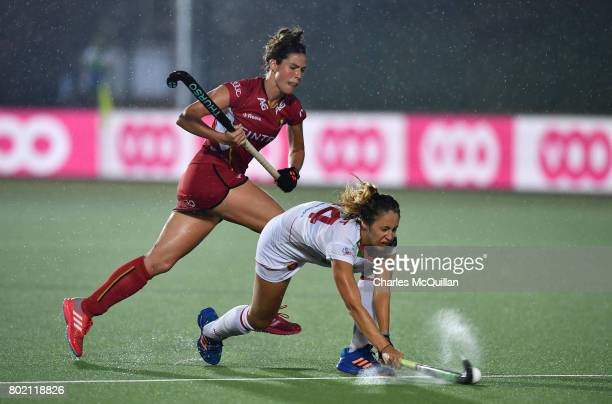 Anouk Raes of Belgium and Maria Tost of Spain during the FINTRO Women's Hockey World League SemiFinal Pool B game between Belgium and Spain on June...