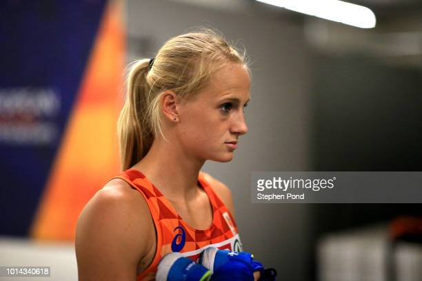 Anouk Vetter of Netherlands waits before competing in the Women's Heptathlon 200m during day three of the 24th European Athletics Championships at...