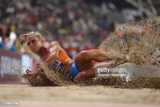 Anouk Vetter of the Netherlands competes in the Women's Heptathlon long jump during day seven of 17th IAAF World Athletics Championships Doha 2019 at...