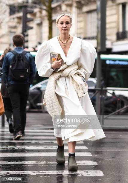 Anouki Areshidze is seen wearing a white Anouki dress outside the Ann Demeulemeester show during Paris Fashion Week AW20 on February 27 2020 in Paris...