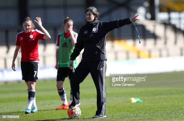 Anouschka Bernhard coach of Germany before the Germany v Italy U17 Girl's Elite Round at Keys Park on March 25 2017 in Cannock England
