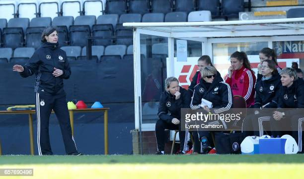 Anouschka Bernhard coach of Germany during the Germany v Italy U17 Girl's Elite Round at Keys Park on March 25 2017 in Cannock England