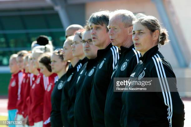 Anouschka Bernhard Head Coach of U16 Girls Germany and her team during the athem at the beginning of the gameduring UEFA Development Tournament match...