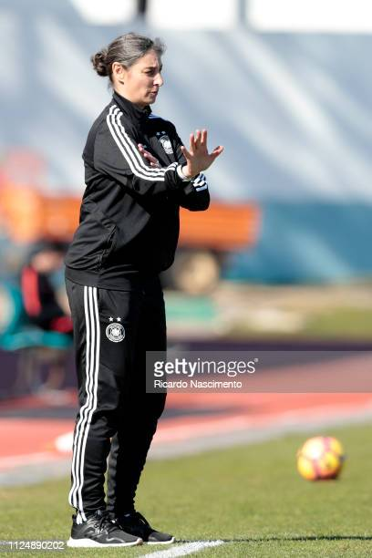 Anouschka Bernhard Head Coach of U16 Girls Germany gestures during UEFA Development Tournament match between U16 Girls Portugal and U16 Girls Germany...