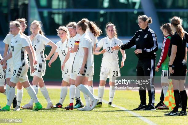 Anouschka Bernhard Head Coach of U16 Girls Germany gives instructions to players during a break for player assistance during UEFA Development...