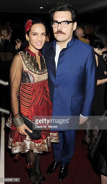 Anoushka Shankar and director Joe Wright attend the Sadler's Wells Fundraising Gala Extraordinary Collaborations at the Sadler's Wells Theatre on...