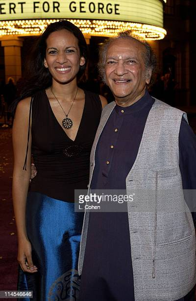 Anoushka Shankar and Ravi Shankar at the premiere of 'Concert for George' a new documentary film celebrating the music of George Harrison through...