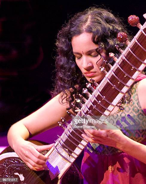 Anoushka Shankar performs on stage at Birmingham Town Hall on May 17 2010 in Birmingham England