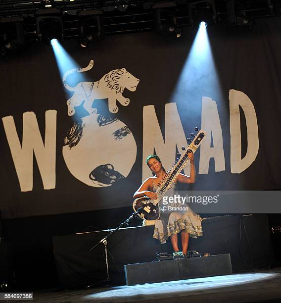 Anoushka Shankar performs on stage during Day 3 of the Womad Festival at Charlton Park on July 30 2016 in Wiltshire England