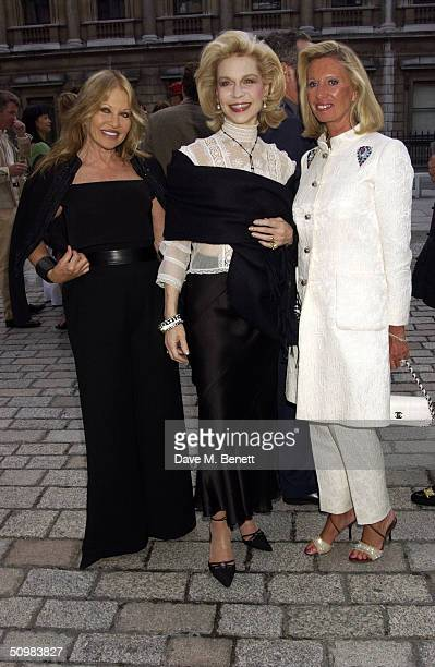 Anouska Hempel Lynn Wyatt and Lady Caroline Bamford attend the Around The World party at The Royal Academy on June 21 2004 in London David Tang hosts...