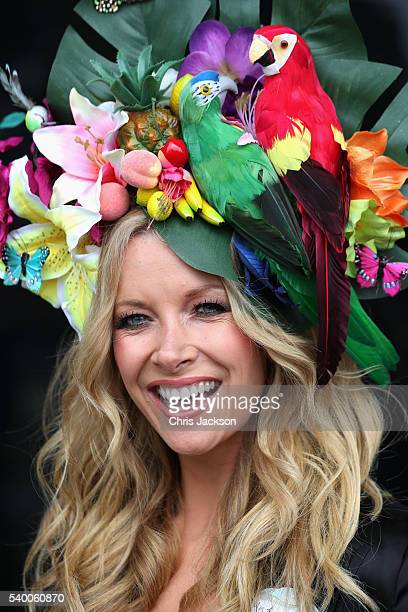 Anouska Lancaster wears a hat by Pearls and Swine as she arrives at Royal Ascot 2016 at Ascot Racecourse on June 14, 2016 in Ascot, England.