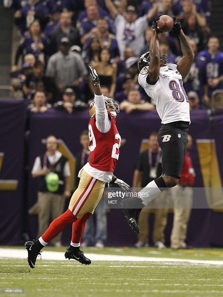 Anquan Boldin (81) of the Baltimore Ravens catches a pass over Chris Culliver (29) of the San Francisco 49ers in first-quarter action during Super Bowl XLVII at the Mercedes-Benz Superdome in New Orleans, Louisiana, Sunday, February 3, 2013.