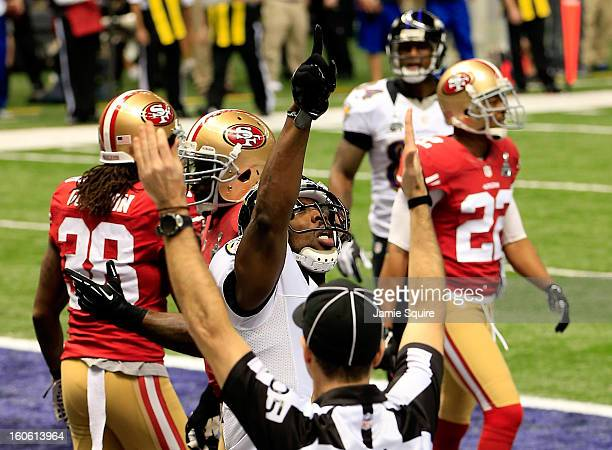 Anquan Boldin of the Baltimore Ravens celebrates after scoring a touchdown in the first quarter against the San Francisco 49ers during Super Bowl...