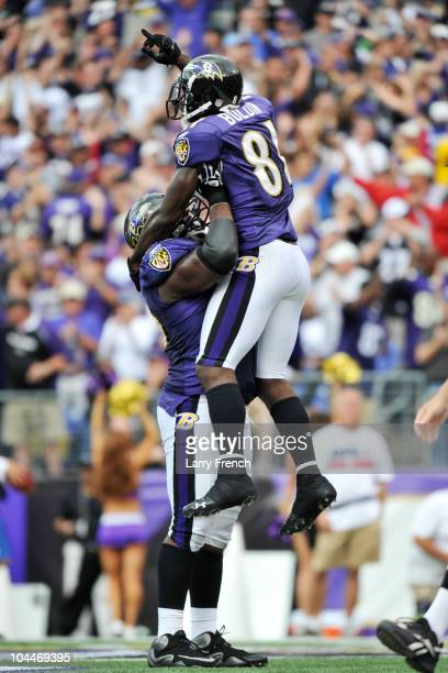 Anquan Boldin of the Baltimore Ravens celebrates one of his three touchdowns against the Cleveland Browns at M&T Bank Stadium on September 26, 2010...