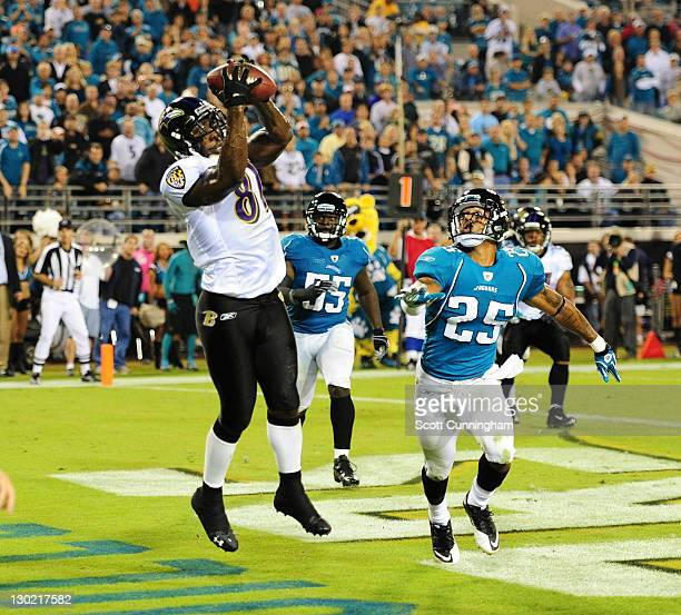 Anquan Boldin of the Baltimore Ravens makes a catch for a fourth quarter touchdown against the Jacksonville Jaguars at EverBank Field on October 24,...