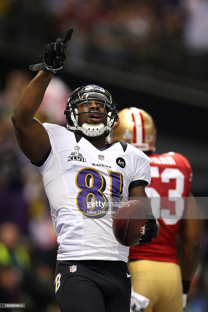 Anquan Boldin of the Baltimore Ravens reacts after he scored a