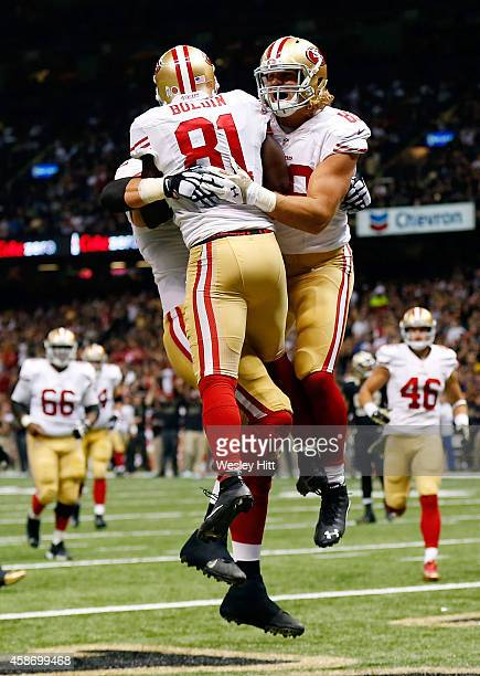 Anquan Boldin of the San Francisco 49ers celebrates a touchdown with Vance McDonald during the second quarter of a game against the New Orleans...