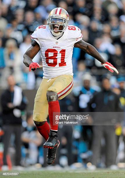 Anquan Boldin of the San Francisco 49ers celebrates after a play in the fourth quarter against the Carolina Panthers during the NFC Divisional...