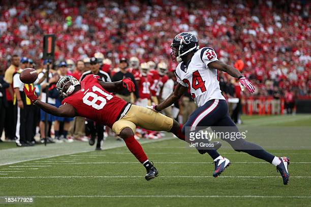 Anquan Boldin of the San Francisco 49ers misses a pass in the first quarter against Johnathan Joseph of the Houston Texans during their game at...