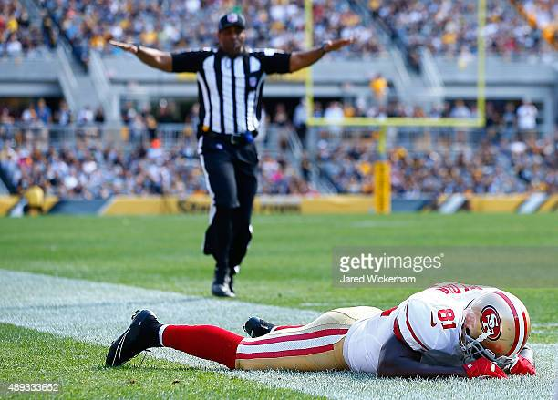 Anquan Boldin of the San Francisco 49ers reacts following an incomplete pass in the third quarter against the Pittsburgh Steelers during the game at...