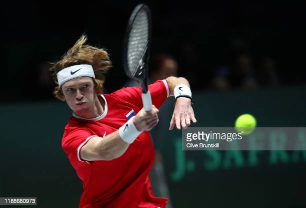 Anrey Rublev of Russia plays a forehand during Day 2 of the 2019 Davis Cup at La Caja Magica on November 19 2019 in Madrid Spain