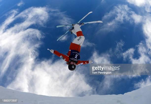 Anri Kawamura of Japan takes training run for the Women's Moguls during the 2021 Intermountain Healthcare Freestyle International Ski World Cup at...