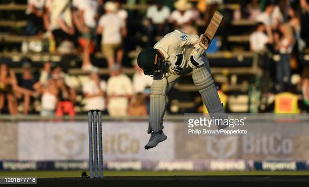 Anrich Nortje of South Africa avoids a Ben Stokes bouncer during Day Two of the Fourth Test between England and South Africa on January 25, 2020 in...