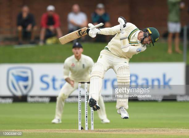 Anrich Nortje of South Africa avoids a Mark Wood bouncer during Day Three of the Third Test between England and South Africa on January 18, 2020 in...
