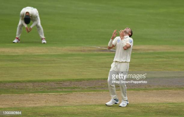 Anrich Nortje reacts as an edge from Ben Stokes of England goes safe during Day Two of the Third Test between England and South Africa on January 17,...