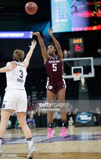 Anriel Howard of the Texas AM Aggies attempts to score a goal against Marina Mabrey of the Notre Dame Fighting Irish during the 2018 NCAA Division 1...