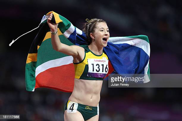 Anrune Liebenberg of South Africa celebrates winning bronze in the Women's 200m T46 Final on day 3 of the London 2012 Paralympic Games at Olympic...