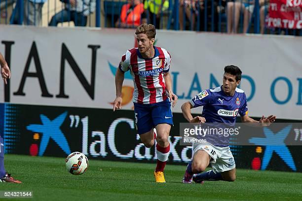 Ansaldi player of Atletico de Madrid Spanish La Liga soccer match between Espanyol and Atletico de Madrid at the Vicente Calederon stadium in Madrid...