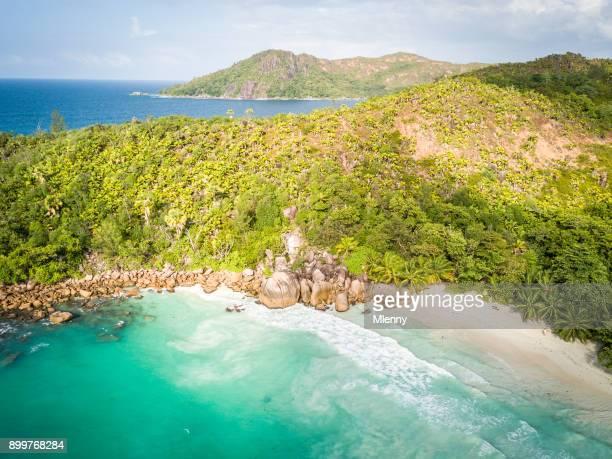 Anse Lazio Beach Praslin Island Seychelles Aerial View