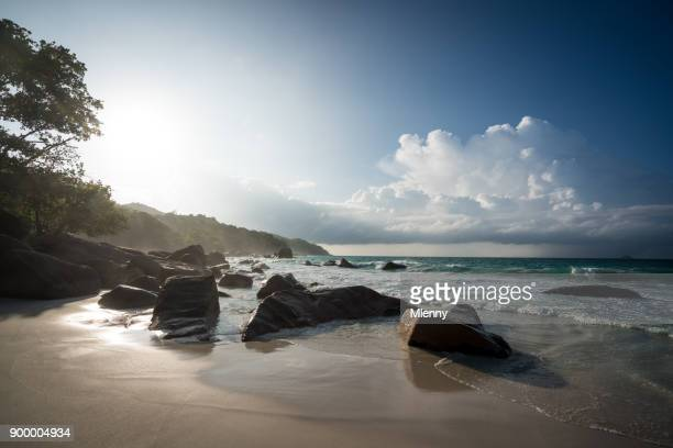 anse lazio praslin island seychelles evening sunlight - boulder county stock pictures, royalty-free photos & images