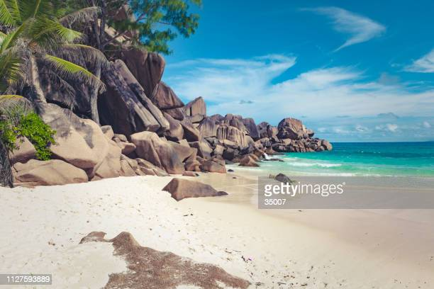 anse lazio, praslin island, seychelles, mascarene islands, africa - water's edge stock pictures, royalty-free photos & images