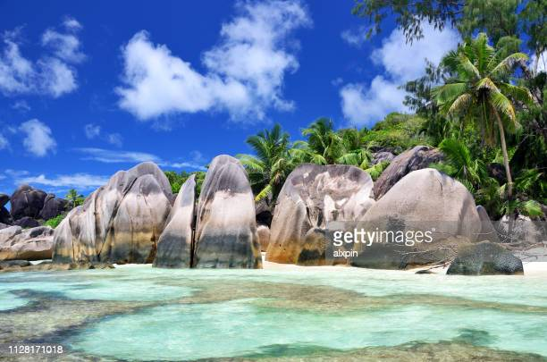 anse source d'argent beach, seychelles - la digue island stock pictures, royalty-free photos & images