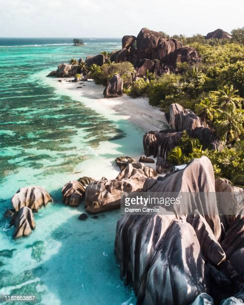 anse source d'argent la digue - la digue island stock pictures, royalty-free photos & images