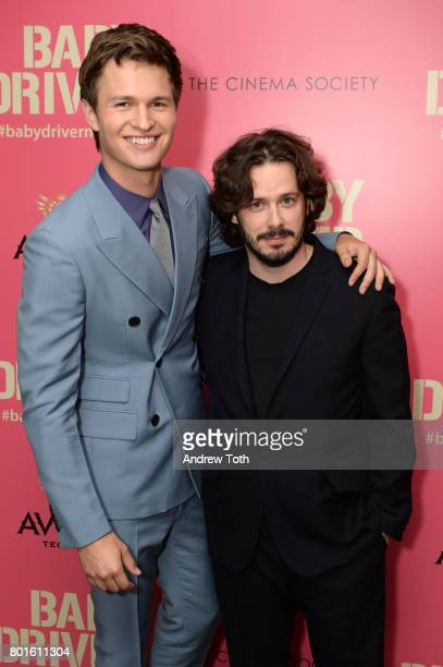 Ansel Elgort and Edgar Wright attend a screening of 'Baby Driver' hosted by TriStar Pictures and The Cinema Society at The Metrograph on June 26 2017...