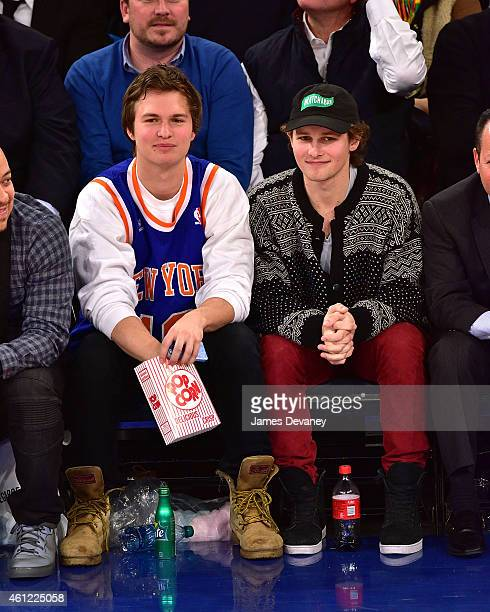 Ansel Elgort and guest attend the Houston Rockets vs New York Knicks game at Madison Square Garden on January 8 2015 in New York City