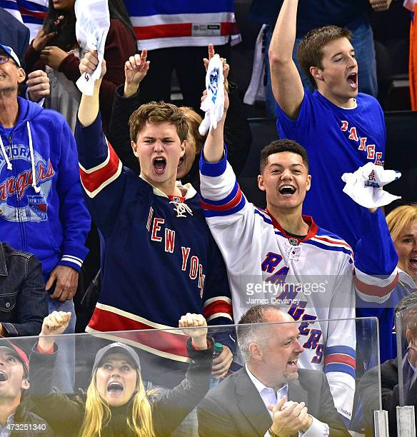 Ansel Elgort and guest attend the Washington Capitals vs New York Rangers game at Madison Square Garden on May 13 2015 in New York City