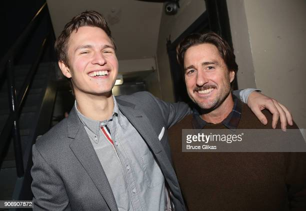 Ansel Elgort and Luke Wilson pose backstage at The 33rd Annual Artios Awards given for excellence in casting at Stage 48 on January 18 2018 in New...