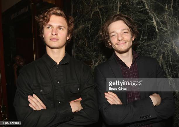 """Ansel Elgort and Mike Faist attend the opening night of the play """"Burn This"""" on Broadway at The Hudson Theatre on April 15, 2019 in New York City."""