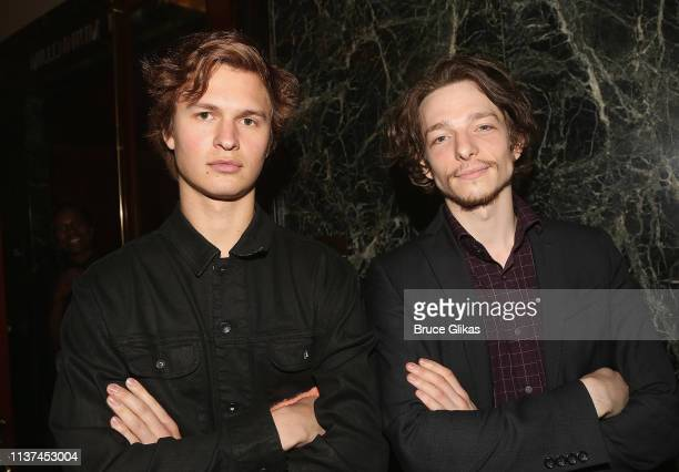 Ansel Elgort and Mike Faist attend the opening night of the play Burn This on Broadway at The Hudson Theatre on April 15 2019 in New York City