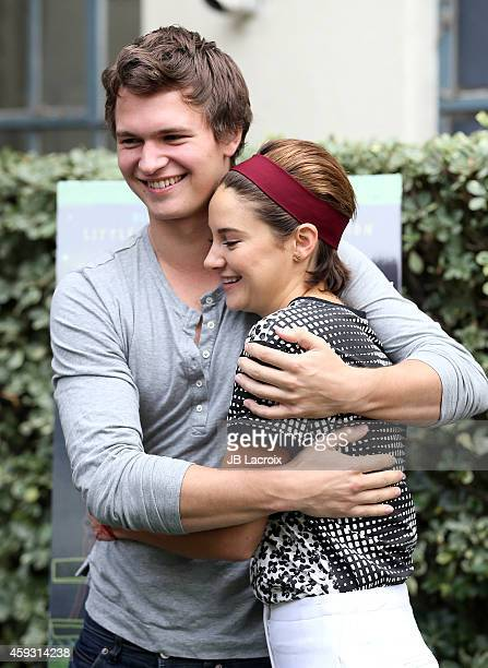 Ansel Elgort and Shailene Woodley attend the Twentieth Century Fox Home Entertainment's 'The Fault In Our Stars' Reunion And Bench Dedication...